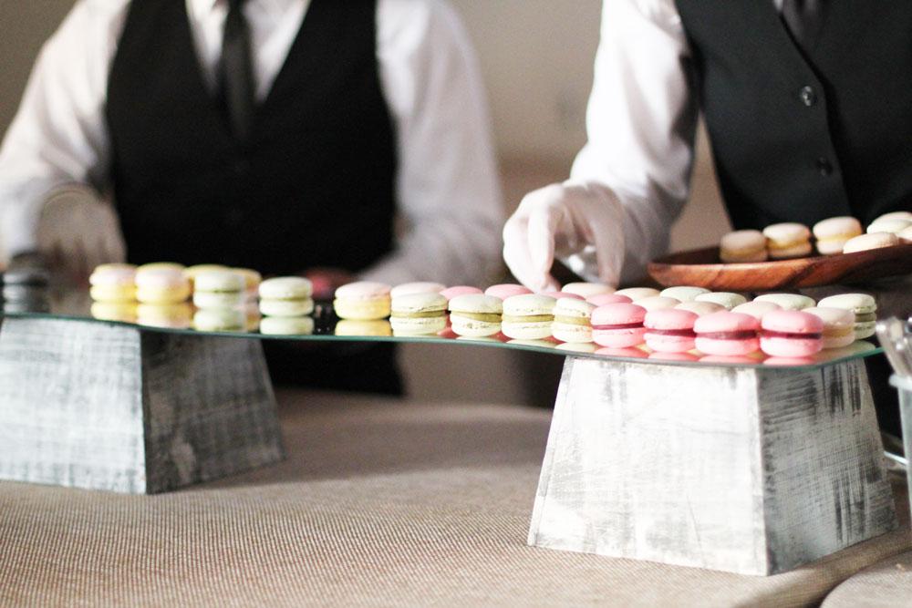 Macaroon desserts at wedding reception in Oakland.