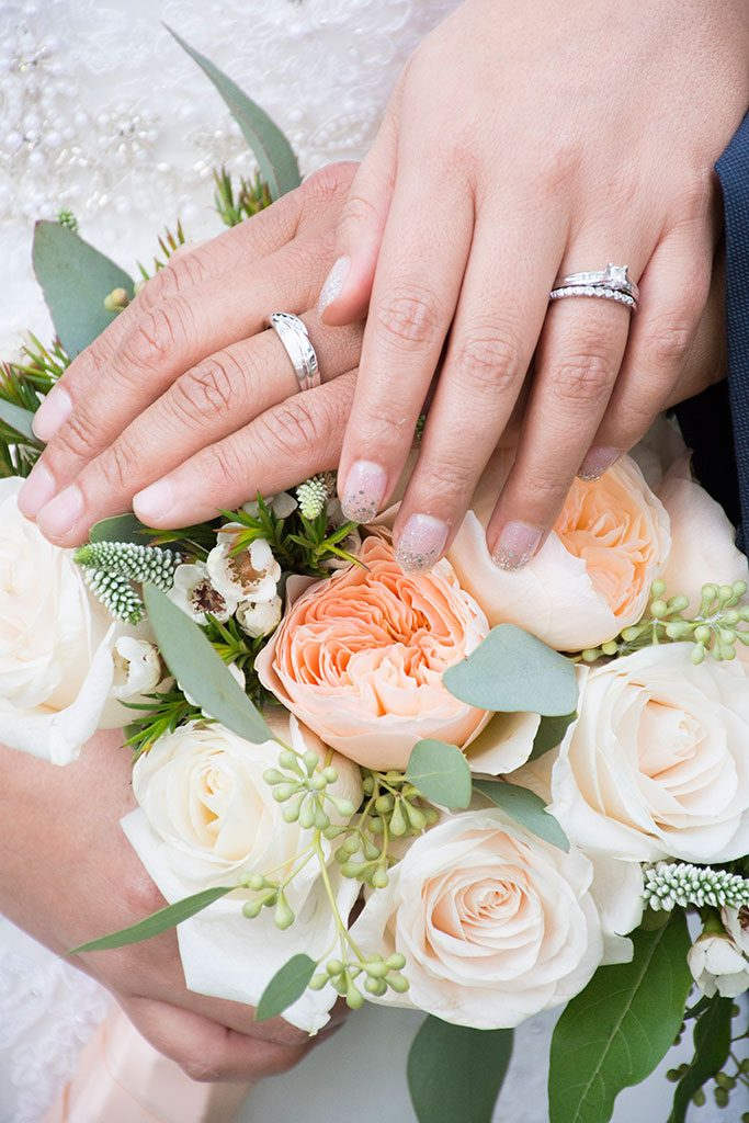 Flower bouquet and wedding ring photo ideas.